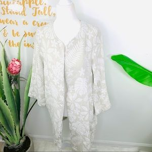 TAHARI Tan Linen Palm Leaf Floral Cardigan Jacket
